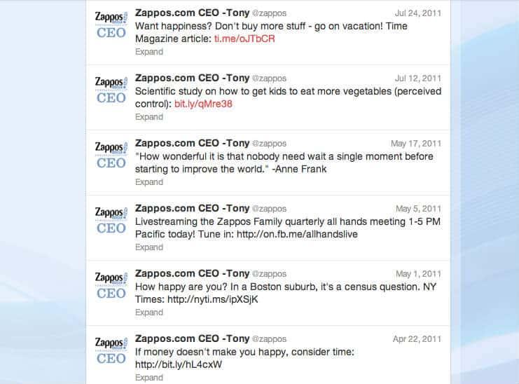 Zappos tweets